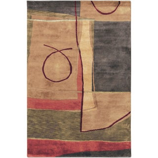 Hand-knotted Goondiwindi Carmel Abstract Geometric Wool Rug (5' x 8')