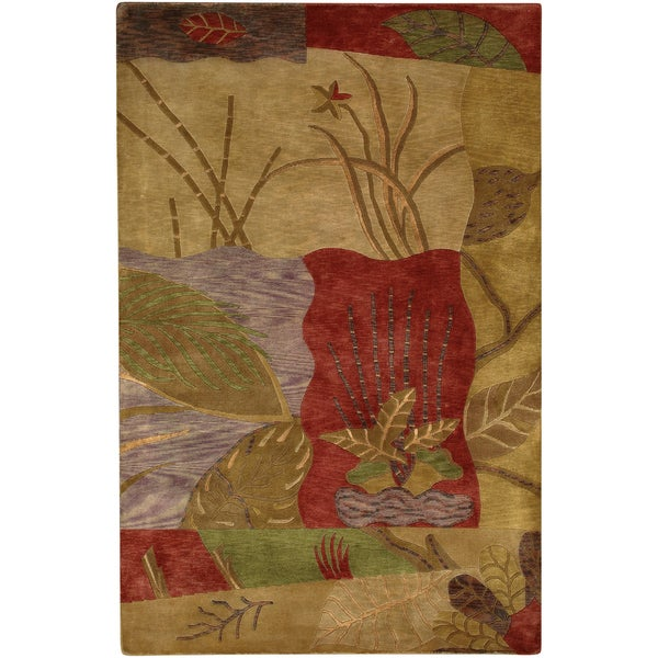 Hand-knotted Highlands Brown New Zealand Wool Rug (8' x 11')