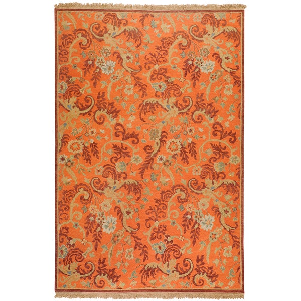 Hand-knotted Bowen Rust New Zealand Wool Rug (9' x 12')