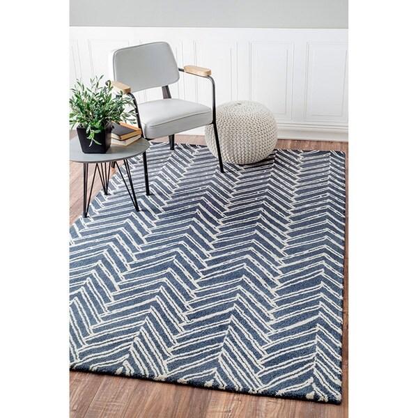 nuLOOM Handmade Chevron Denim Wool Rug (7'6 x 9'6)