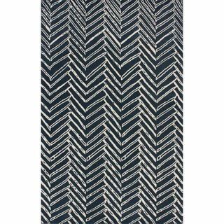 nuLOOM Handmade Chevron Denim Wool Rug (7'6 x 9'6)