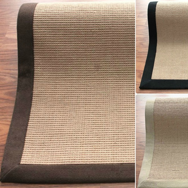 nuLOOM Handmade Alexa Eco Natural Fiber Cotton Border Jute Rug (6' x 9')