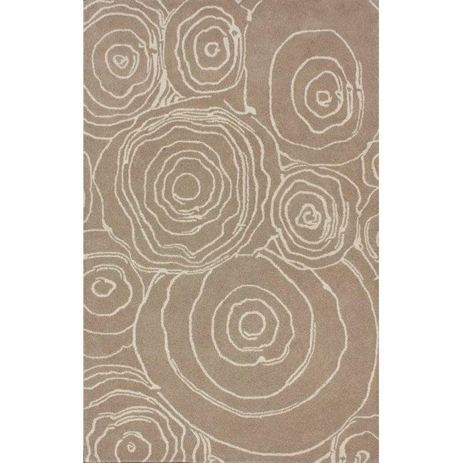 nuLOOM Handmade Swirls Natural Wool Rug (7'6 x 9'6)