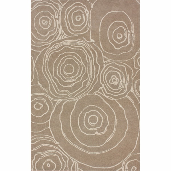 nuLOOM Handmade Swirls Natural Wool Rug (7'6 x 9'6)