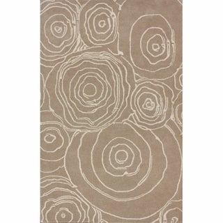 nuLOOM Handmade Swirls Natural Wool Rug (5' x 8')