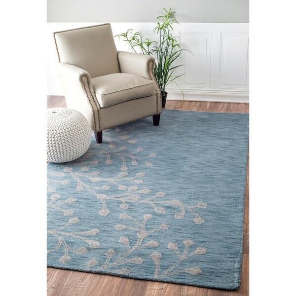 nuLOOM Handmade Floral Blue Wool Rug (7'6 x 9'6)