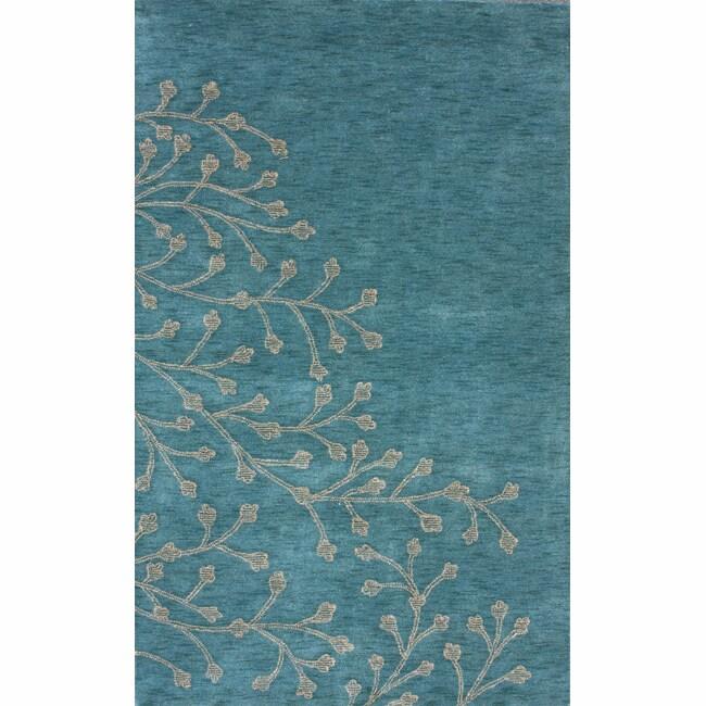 nuLOOM Handmade Floral Blue Wool Rug (5' x 8')