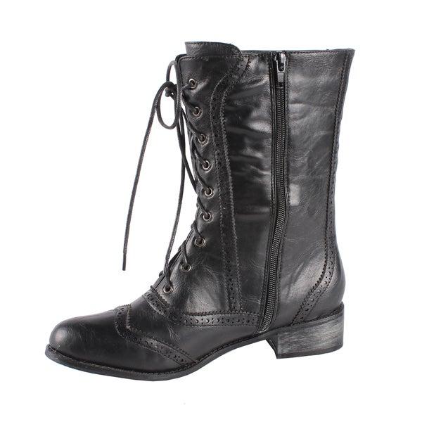 Jacobies by Beston Women's 'Break-3' Black Mid-Calf Combat Boots