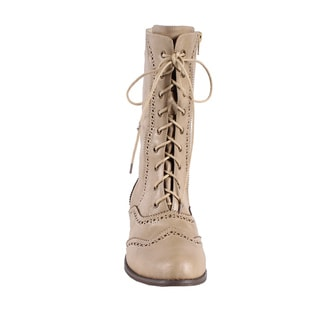 Jacobies by Beston Women's 'Break-3' Beige Mid-Calf Combat Boots