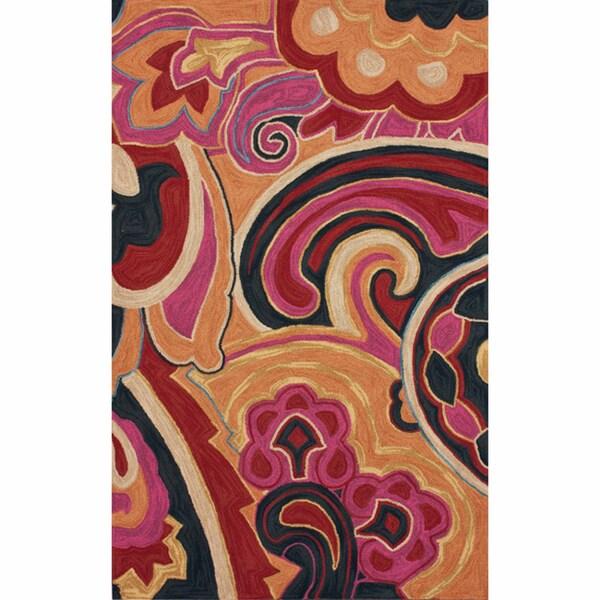 nuLOOM Handmade Paisley Multi Rug (5' x 8')
