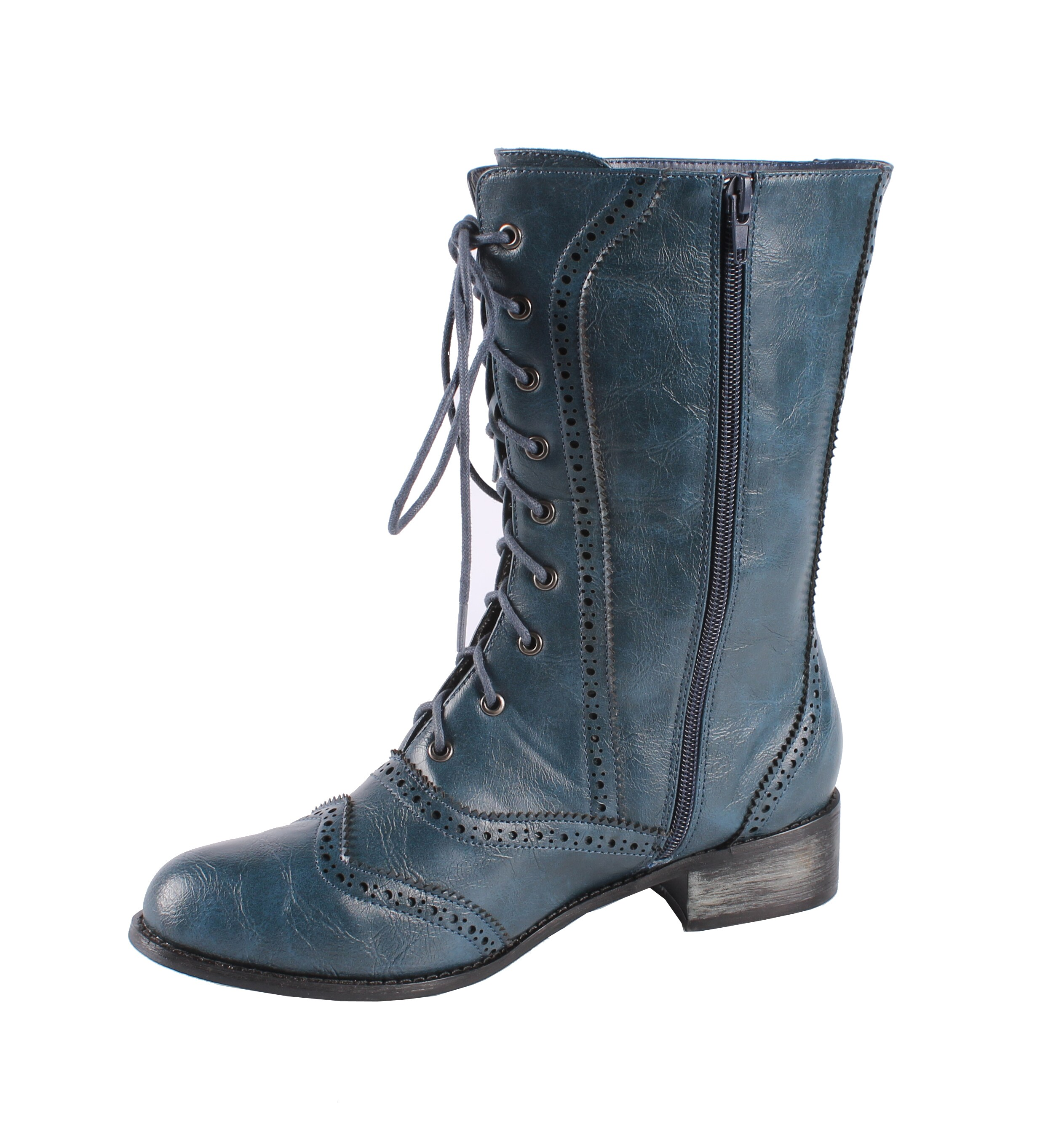 Jacobies by Beston Women's 'Break-3' Mid-calf Combat Boots