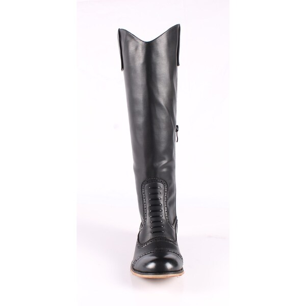 Jacobies by Beston Women's 'Cowgirl-4' Black Knee-High Riding Boots