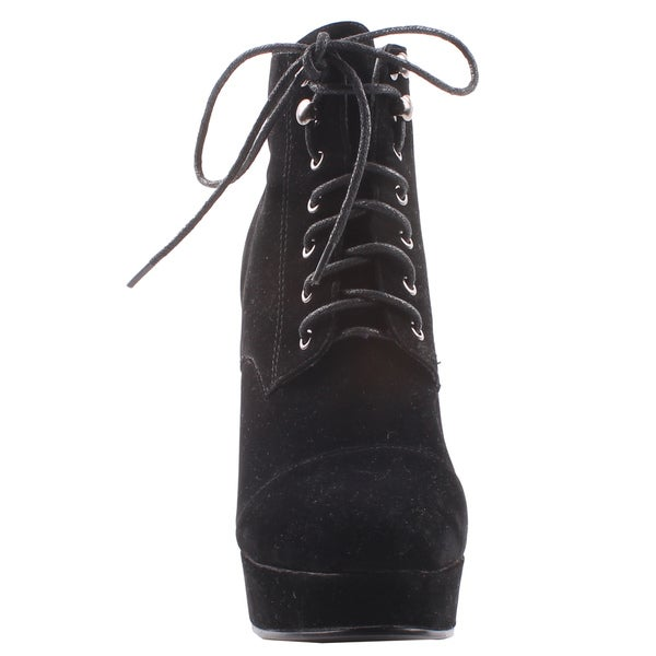 Jacobies by Beston Women's 'Emily-3' Lace-Up Black Wedge Booties