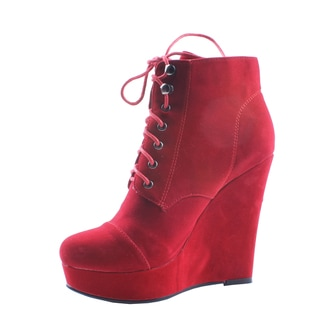 Jacobies by Beston Women's 'Emily-3' Red Lace-Up Wedge Booties