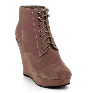 Jacobies by Beston Women's 'Emily-3' Lace-Up Faux-Suede Wedge Booties