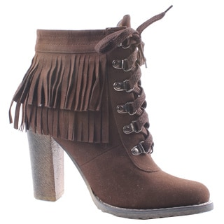 Jacobies by Beston Women's 'Honey-3' Brown Lace-Up Ankle Booties on Chunky Heels