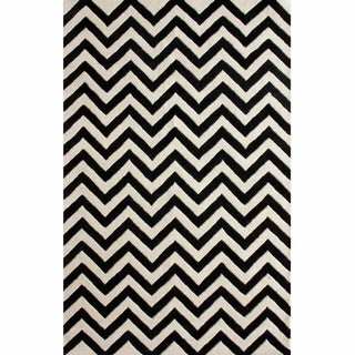 nuLOOM Hand-tufted Spectrum Black Chevron Wool Rug (6' x 9')