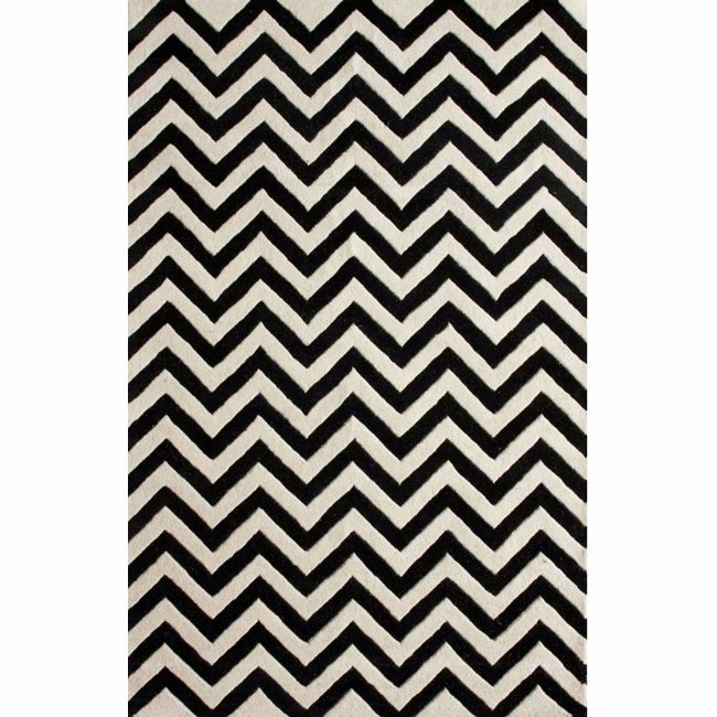 nuLOOM Hand-tufted Spectrum Black Chevron Wool Rug (8'3 x 11'3)