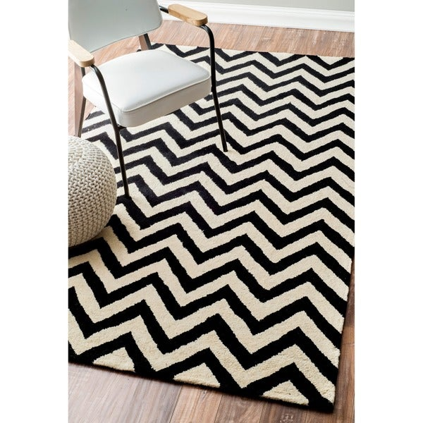 nuLOOM Hand-tufted Spectrum Black Chevron Wool Rug (8'3 x 11'3)
