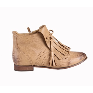 Jacobies by Beston Women's 'Oxy-3' Beige Ankle Bootie
