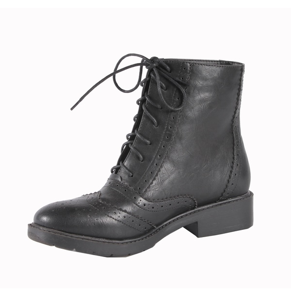 Jacobies by Beston Women's 'WX-1' Black Combat Ankle Boots