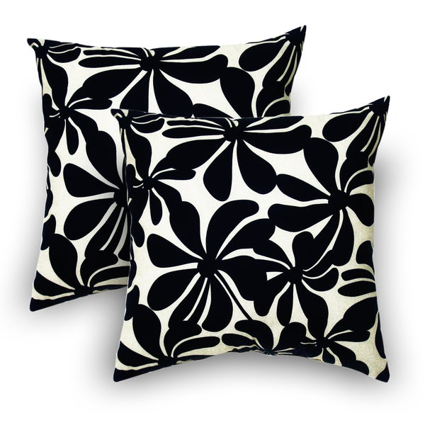 Twirly Polyester Black Outdoor Decorative Pillows (Set of 2)