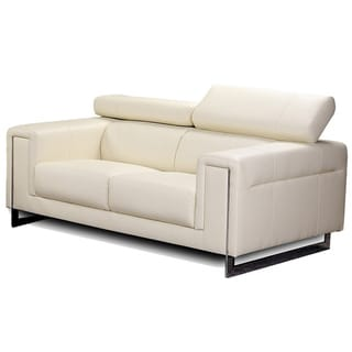 Carter Cream Bonded Leather Loveseat