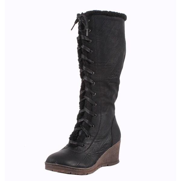 Blossom by Beston Women's 'Olinda-1' Knee-high Wedge Boots