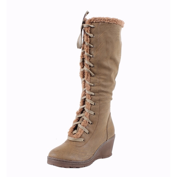 Blossom by Beston Women's 'Olinda-1' Tan Knee-High Wedge Boots