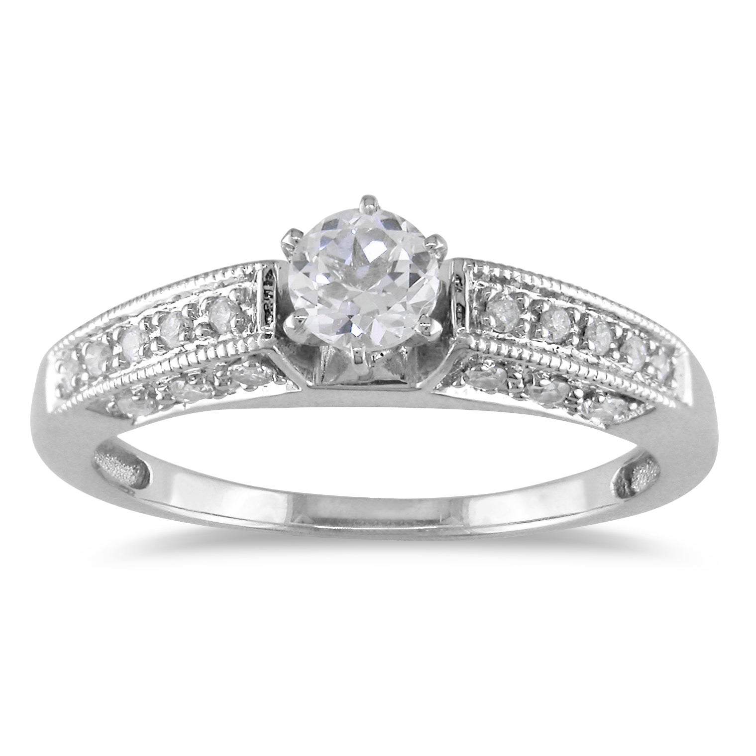 Miadora 14k Gold Created Sapphire and 1/4ct TDW Diamond Ring (G-H, I1-I2)