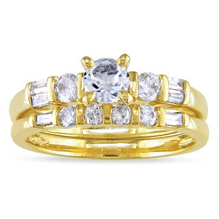 Miadora 10k Gold Created Sapphire and 1/2ct TDW Diamond Ring Set (G-H, I1-I2)