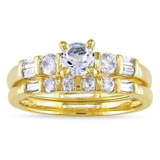 Miadora 10k Gold Created Sapphire and 1/2ct TDW Diamond Ring Set (G-H, I1-I2)