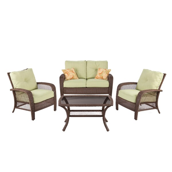Agio Sheffield Green/ Brown 4-piece Outdoor Seating Set