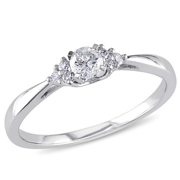 Miadora 14k White Gold 1/4ct TDW Diamond Engagement Ring (H-I, I2-I3)
