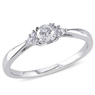 Miadora 14k White Gold 1/4ct TDW Diamond Engagement Ring (H-I, I2-I3)