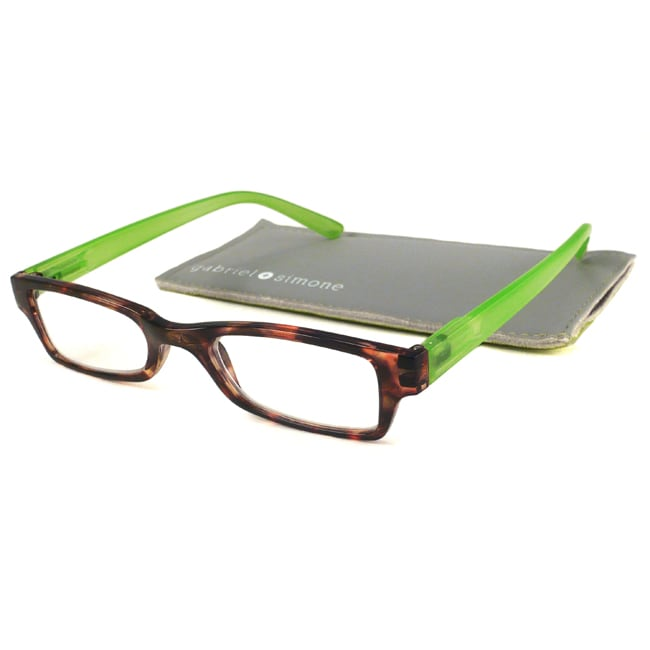 Gabriel+Simone Readers Men's/ Unisex St. Germain Tortoise/ Green Reading Glasses