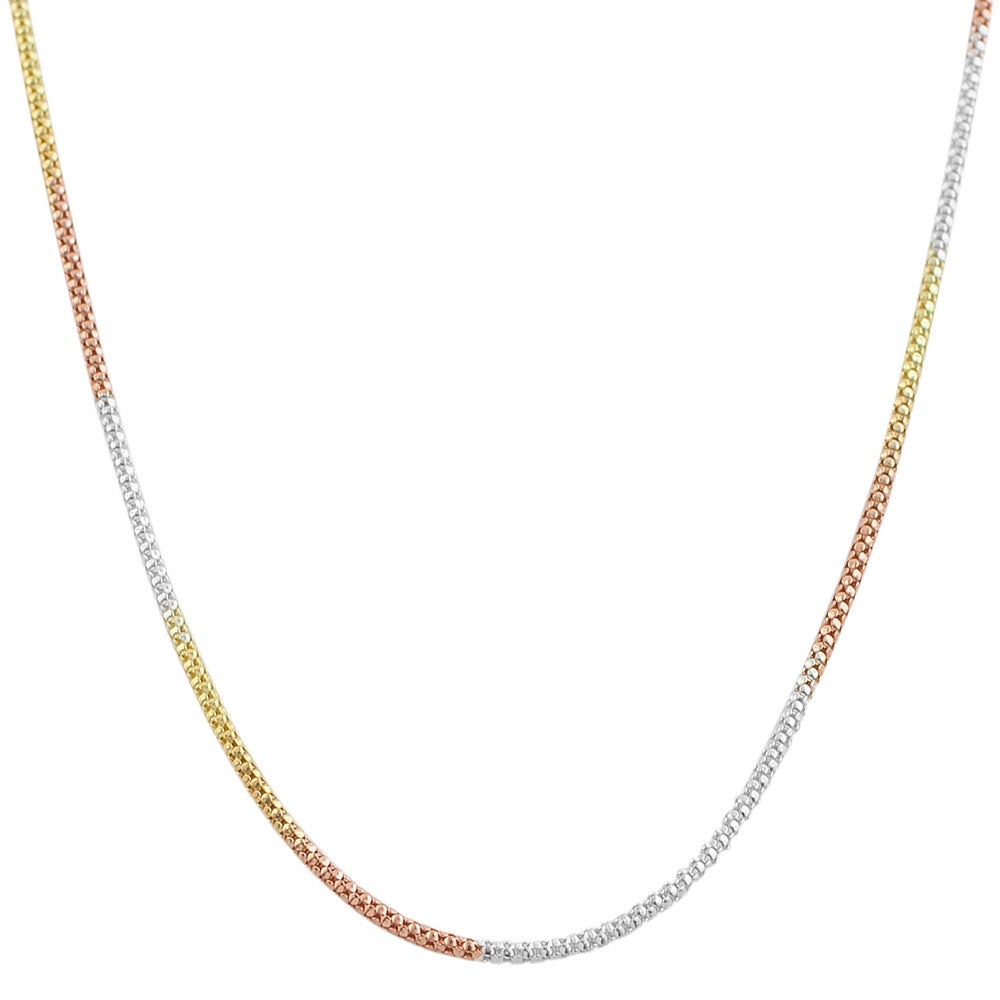 Fremada 14k Tri-color Gold over Sterling Silver Popcorn Chain