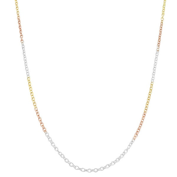Fremada Tri-color Gold over Sterling Silver Round Cable Chain 9616735