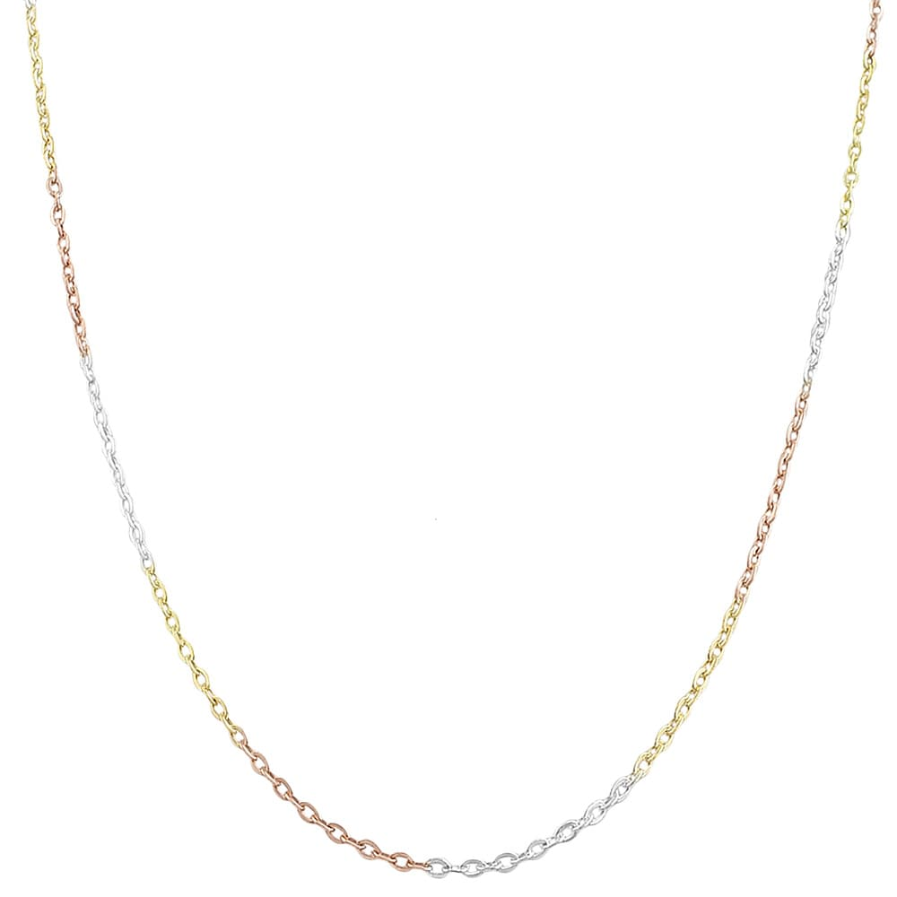 Fremada 14k Tri-color Gold over Sterling Silver Flat Cable Chain