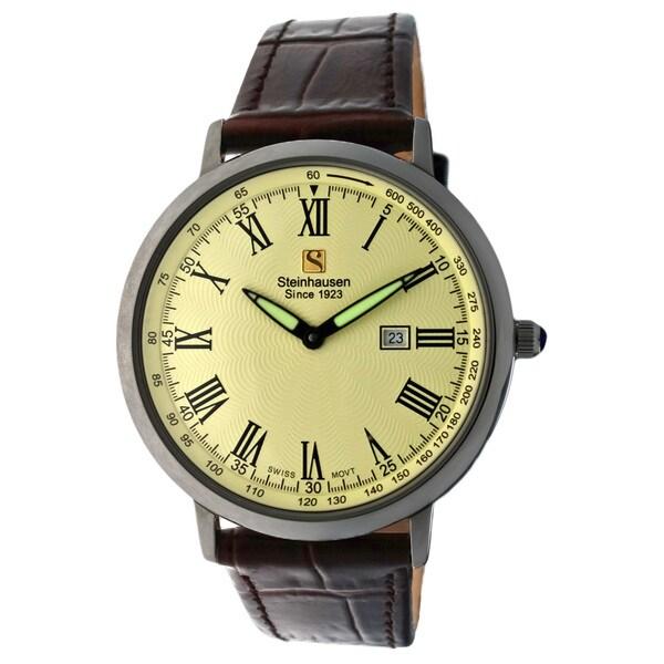 Steinhausen Men's Ultra-thin Swiss Movement Silver Case Cream Dial Watch
