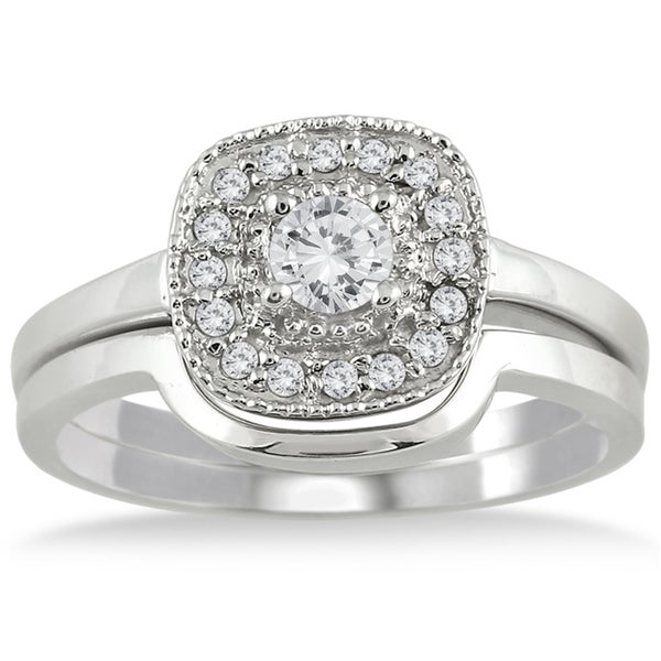 Marquee Jewels 10k White Gold 1/3ct TDW White Diamond Bridal Ring Set (I-J, I1-I2)