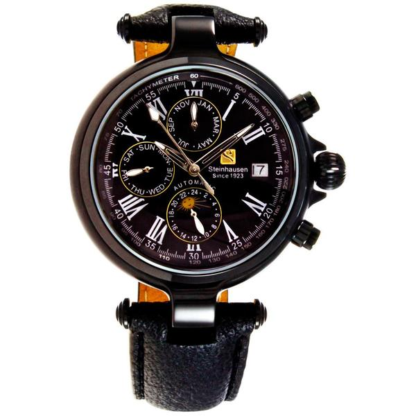 Steinhausen Men's Three Eyes Automatic Black Case Black Dial Watch