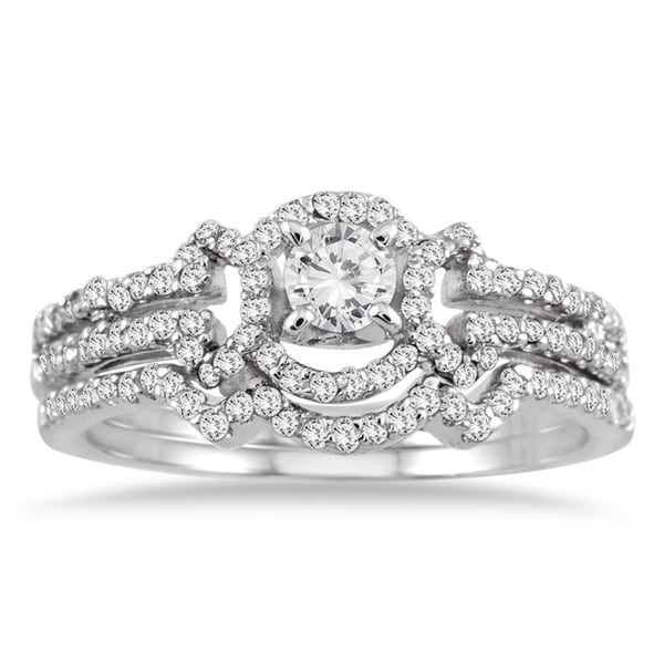 Marquee Jewels 10k White Gold 5/8ct TDW Round-cut White Diamond Bridal Ring Set (I-J, I1-I2)