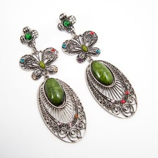 Handcrafted Brass and Green Faux Stone Earrings (India)