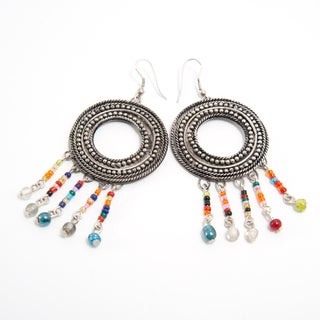 Handcrafted Large Multi-color Beaded Chandelier Earrings (India)