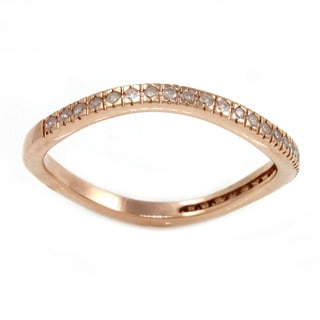 Beverly Hills Charm Rose Gold Plated Silver 1/6ct TDW Curved Diamond Band