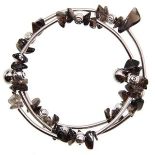 Tibetan Silver Smoke Quartz Bangle (China)