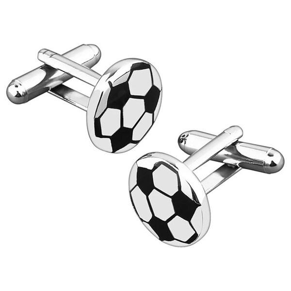 BasAcc Black/ Silver Football Cufflink