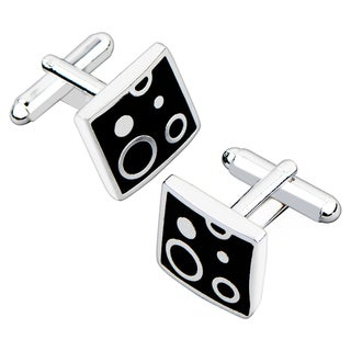 BasAcc Black/ Silver Air Bubble Square Cufflink