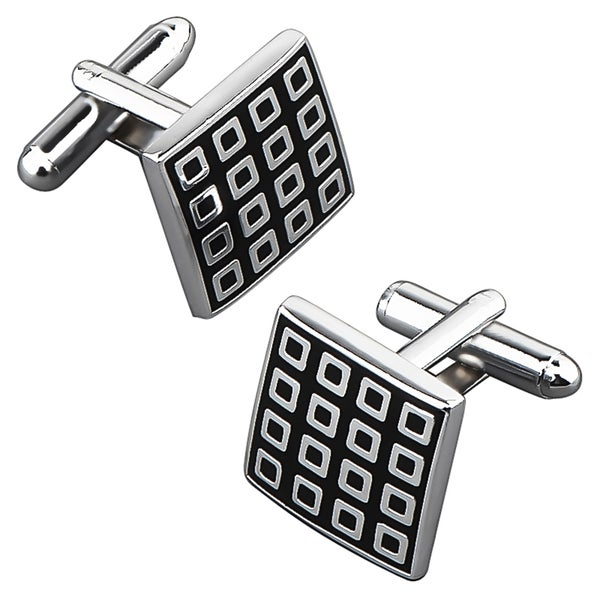BasAcc Black/ Silver Grid Square Cufflink
